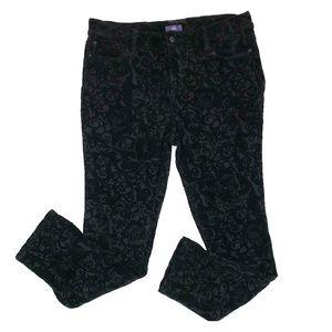NYDJ Black embossed velvet jeans